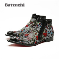 Batzuzhi Italian Style Handmade Men Boots Pointed Iron Toe Designer Short Boots Leather Zipper High Help