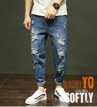 Top quality 2019 wholesale Men's summer high street denim hip hop Distressed hole loose little cowboy ankle length pants distressed top denim ankle boots