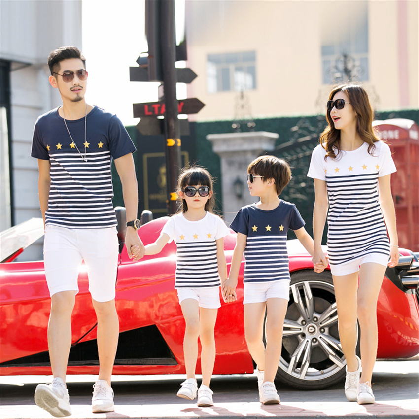 Cotton Stripe Summer Family Matching T-shirt Family Look Matching Outfits Mother and Daughter and Me Clothes Kid Casual Clothing