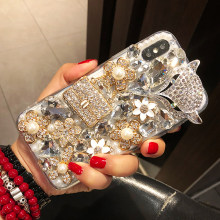 Luxury Flowers Phone Case For Huawei Mate 20 20X 9 10 Pro Lite P10 P20 P30 Pro Lite Plus Rhinestone Diamond Fox Phone Back Cover(China)