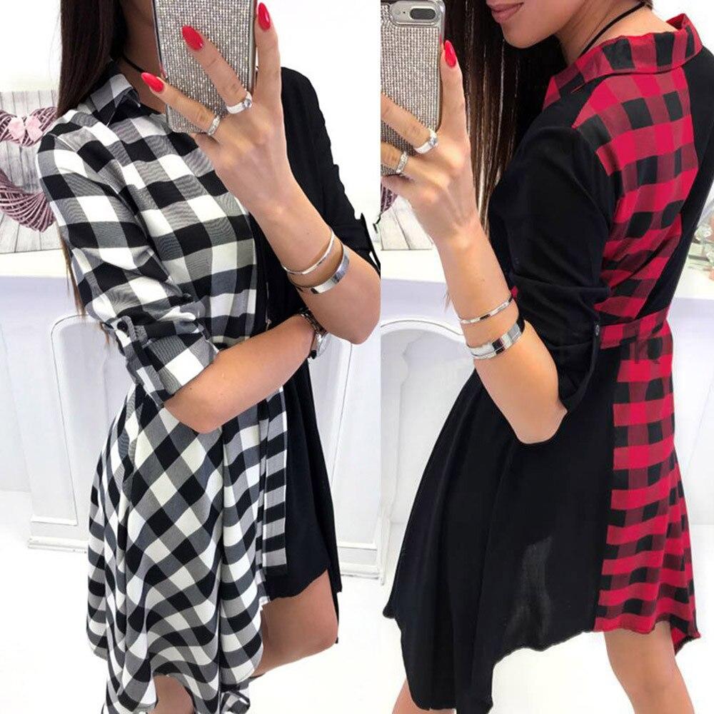 Women V-Neck Plaid Bodycon Dress Long Sleeve Mini Dresses
