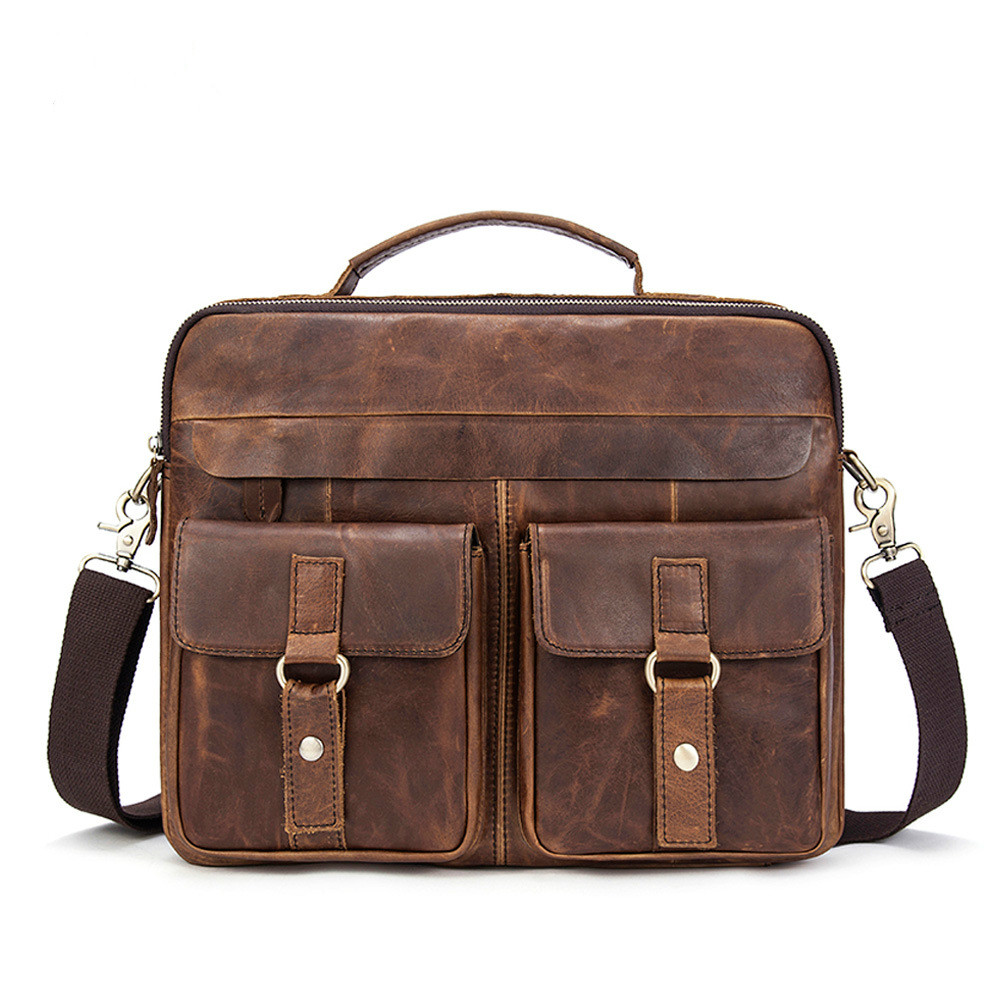 New Genuine Leather Men's 14' Briefcase Portfolio Handbag Men Crossbody Shoulder Bag Male Cowhide Messenger Bags цена
