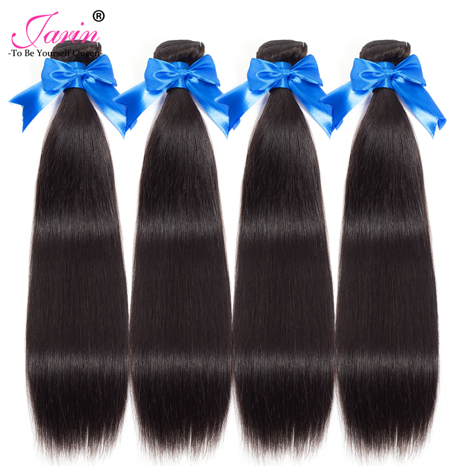 JARIN Human Hair 4 Bundles Peruvian Straight Hair 8 to 28 Natural Black Thick Weft 100G/pc Can Be Full Head Remy Weave #1B