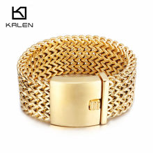 Kalen New Stainless Steel Link Chain Bracelets High Polished Dubai Gold Mesh Bracelets For Men Cool Jewelry Accessories Gifts(China)