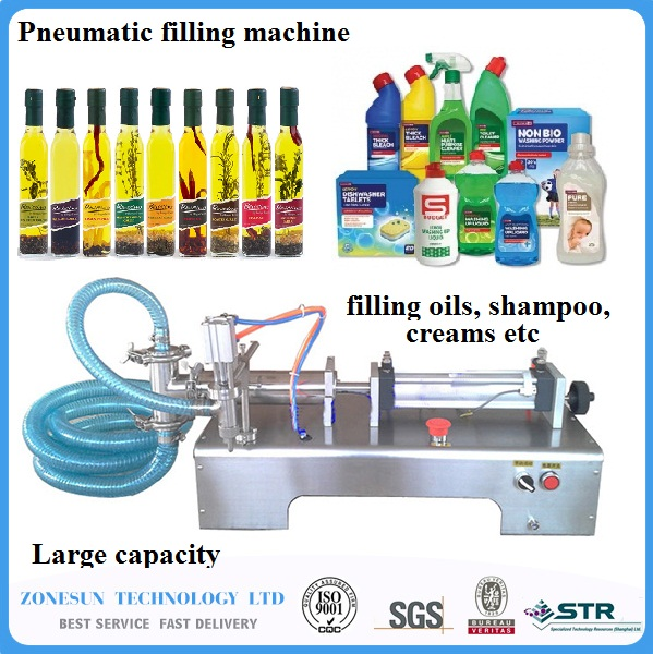 50-500ml Pneumatic liquid filler water wine milk juice vinegar coffee oil drink detergent CONTINUOUS filling machine 100 1000ml pneumatic volumetric softdrin liquid filling machine pneumatic liquid filler for oil water juice honey soap