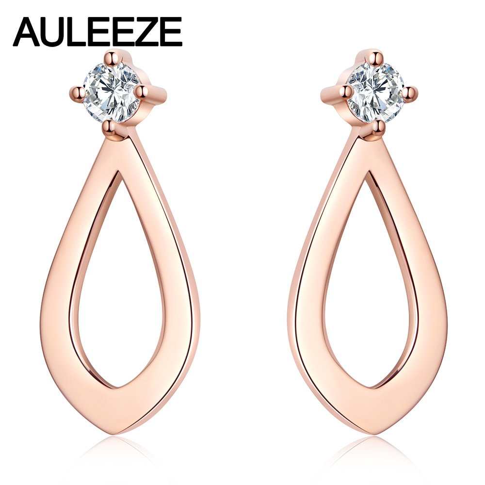 AULEEZE Classic Real Diamond Stud Earrings 18K Rose Gold Earrings for Women Water Drop Shape Fine Jewelry pair of fashionable faux gem decorated water drop shape earrings for women
