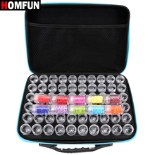 Homfun 60 garrafas de pintura diamante caixa ferramenta recipiente caixa de armazenamento carry caso titular saco de mão zíper design à prova de choque durável