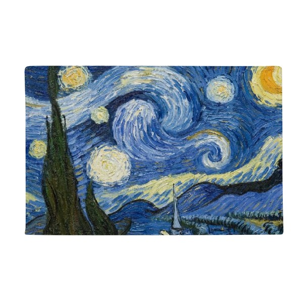 Starry sky Vincent van Gogh Oil Painting Anti-slip Floor Mat Carpet Bathroom Living Room Kitchen Door 16x30Gift