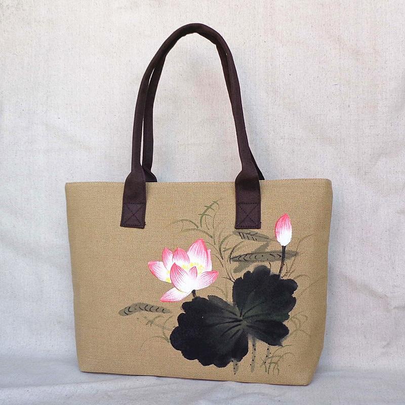 dda8dabb59bd Chinese Painting Series Women Linen Canvas Tote Bag Flower Hand Painted  Top-handle Ladies Shoppers Handbag Big Shoulder Bags