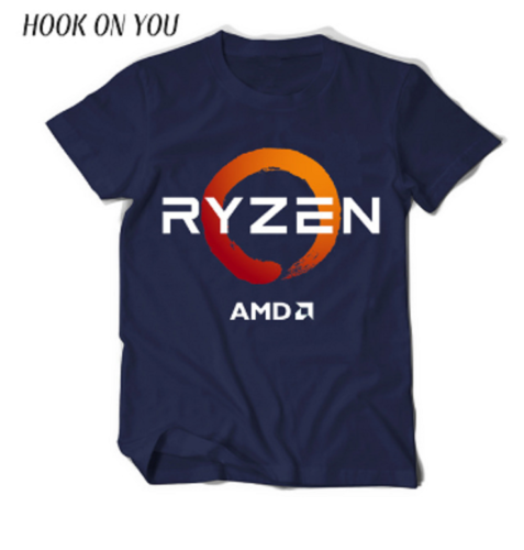 AMD Gaming RYZEN CPU Men's Tees XS to 2XL T-shirt2019 fashionable Brand 100%cotton Printed Round Neck T-shirts cheap wholesale f