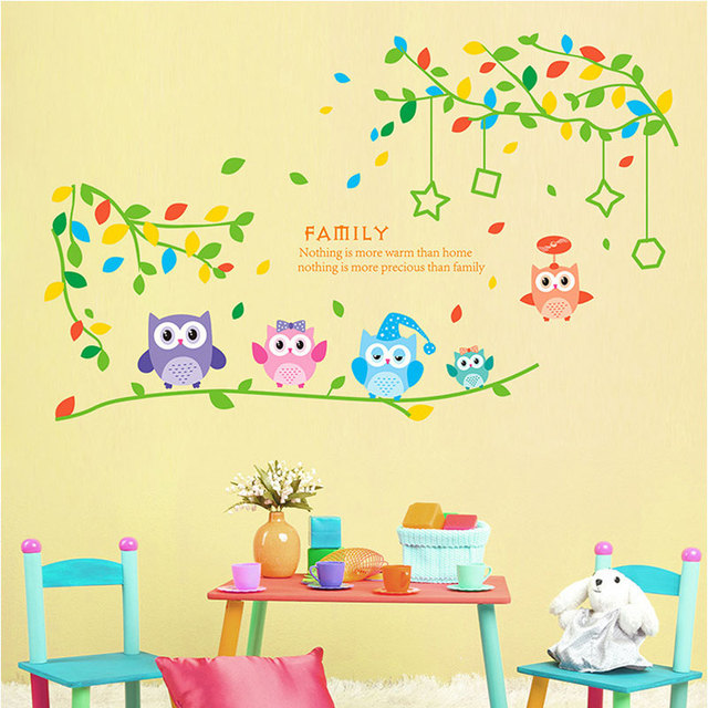 Tree Branches 5 Only Owl Wall Sticker PVC Decal Wall Stickers For Kids  Rooms Bedroom Home
