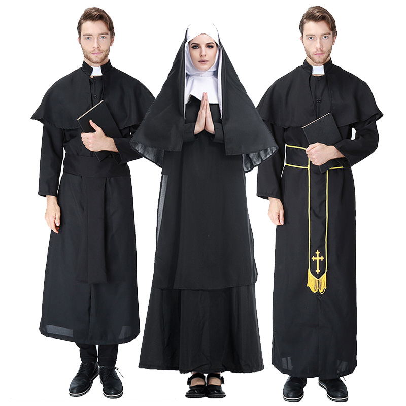 Black Men Jesus Missionary Costume Priest Christian Suits Women Nun Drama Clergyman Adults Fancy Dress Carnival Cosplay Costumes