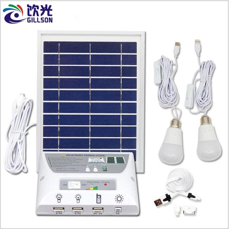 Système d'éclairage de LED solaire portable Kit de charge de téléphone portable extérieur 5 V 2A lampe de tente de Camping kit de système solaire 2 ampoule LED