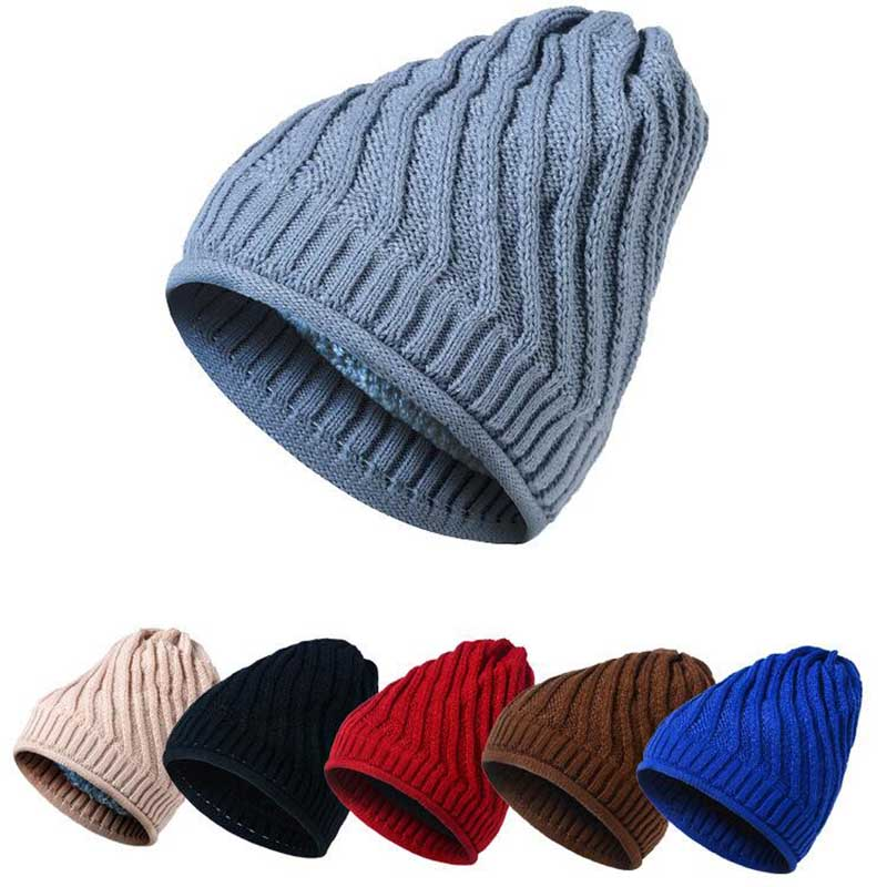 2017 Winter new stripe knit cap plus velvet cap winter outdoor hooded cap ski super warm hat free shipping 7 color free shipping 2016 new 1pcs wholesale diamond grid stripe knit cap man and a woman in winter warm hat 100% quality assurance