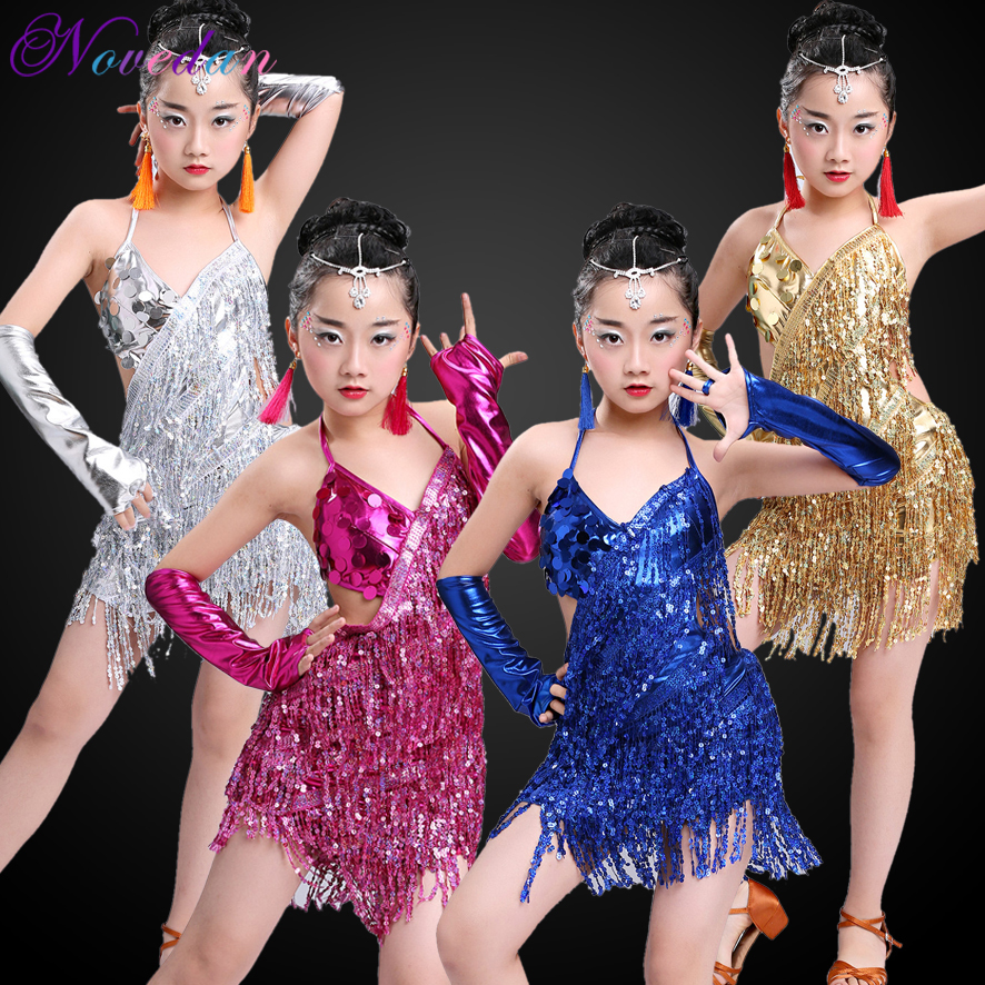 Children Professional Fringe Ballroom Latin Dance Dress For Girls Ballroom Dancing Dresses For Red  Kids Sequin Fringe Tassel