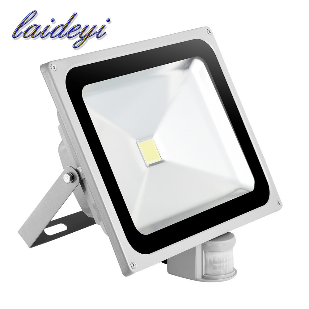 LAIDEYI 4PCS Waterproof Outdoor Lighting Floodlights Led 50W 5000LM PIR Motion Sensor Security LED Flood Light Lamp 85-265V free shipping led flood outdoor floodlight 10w 20w 30w pir led flood light with motion sensor spotlight waterproof ac85 265v