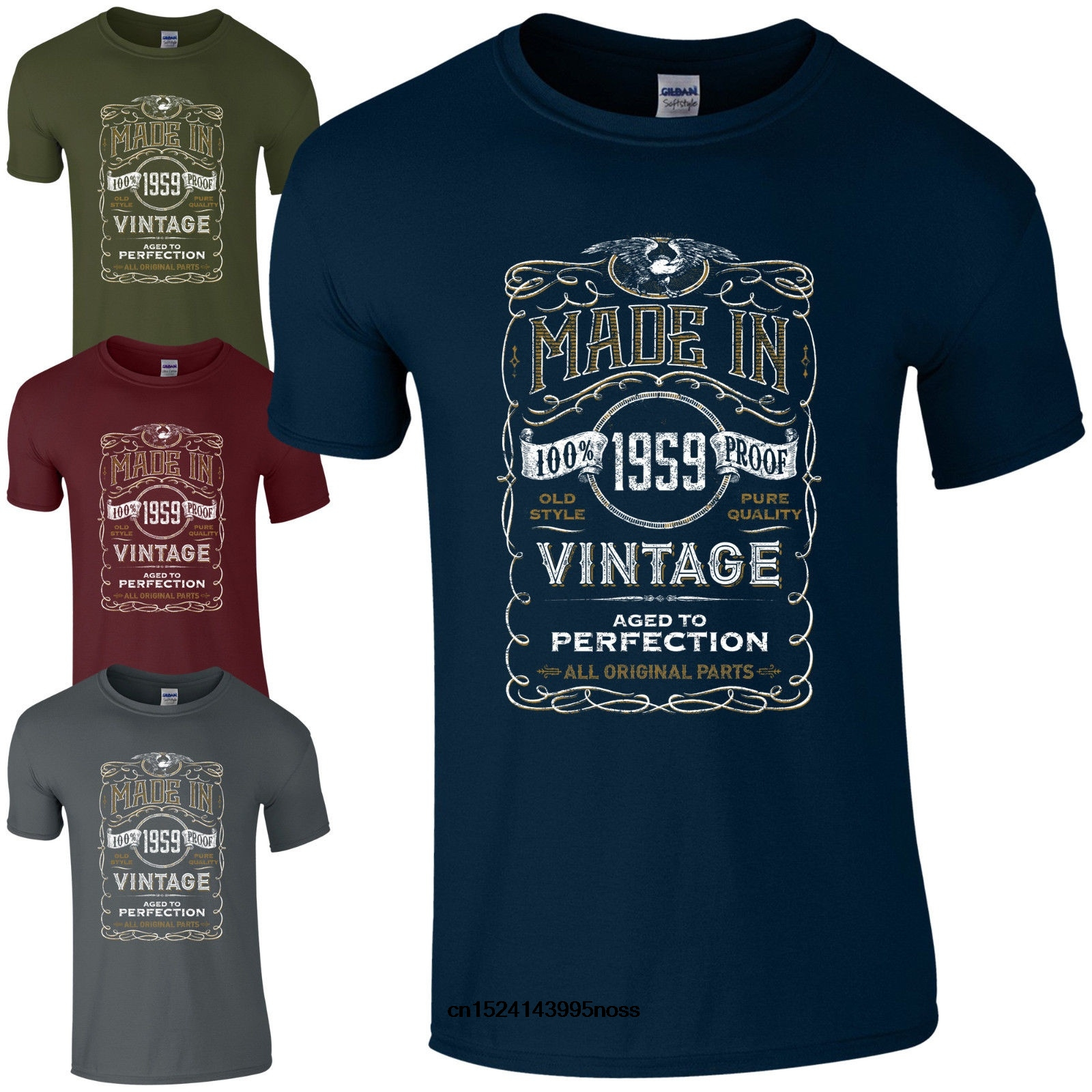 7485317a Made in 1959 T-Shirt Born 59th Year Birthday Age Present Vintage Funny Mens  Gift