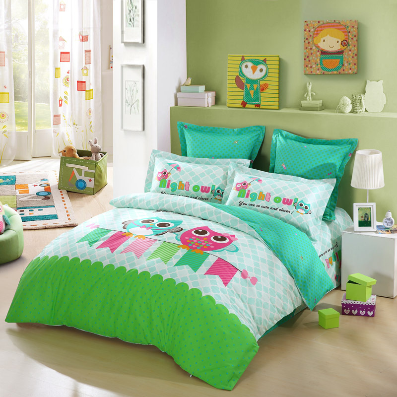 Lovo kid 39 s best friends owl 100 cotton 4pcs bedding set for Best color bed sheets
