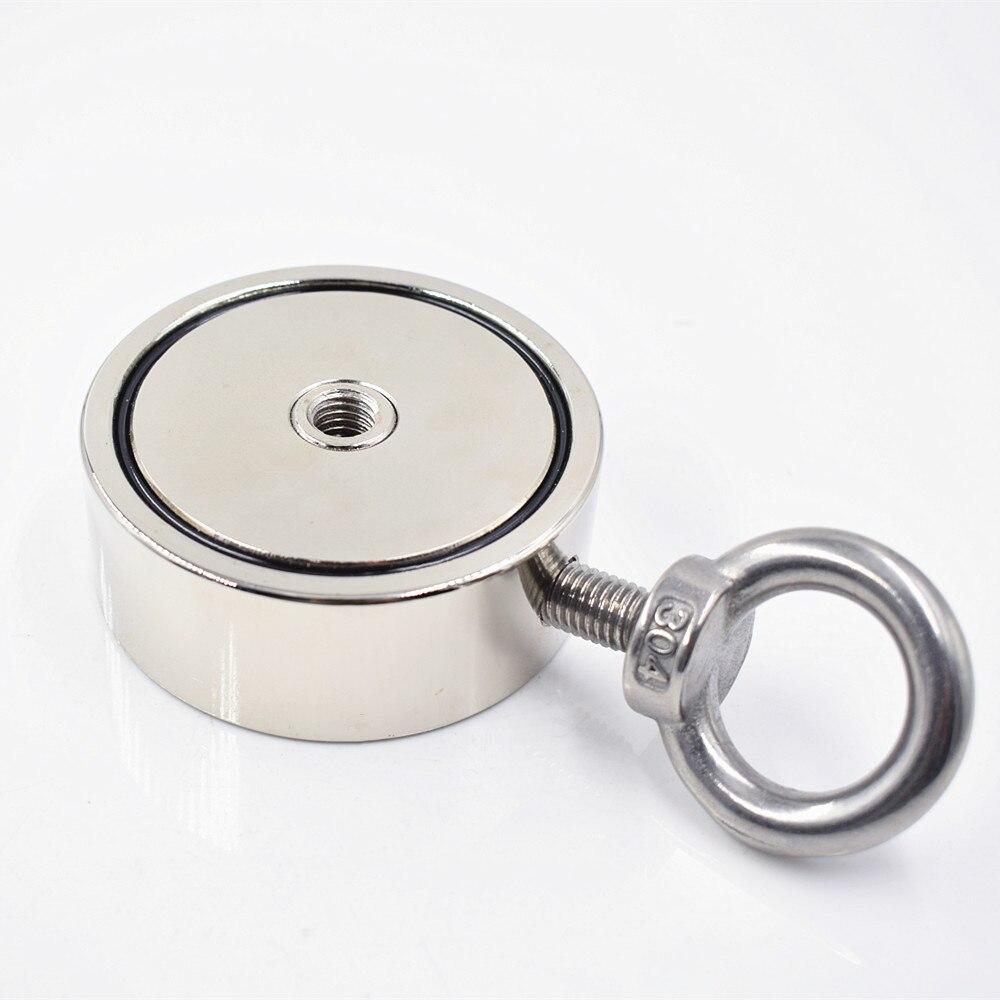 Néodyme Aimant 300 KG Forte Double côté de Récupération De Pêche crochet magnétique 74*28mm Tirant De Montage Pot avec anneau trou matériel mer - 5