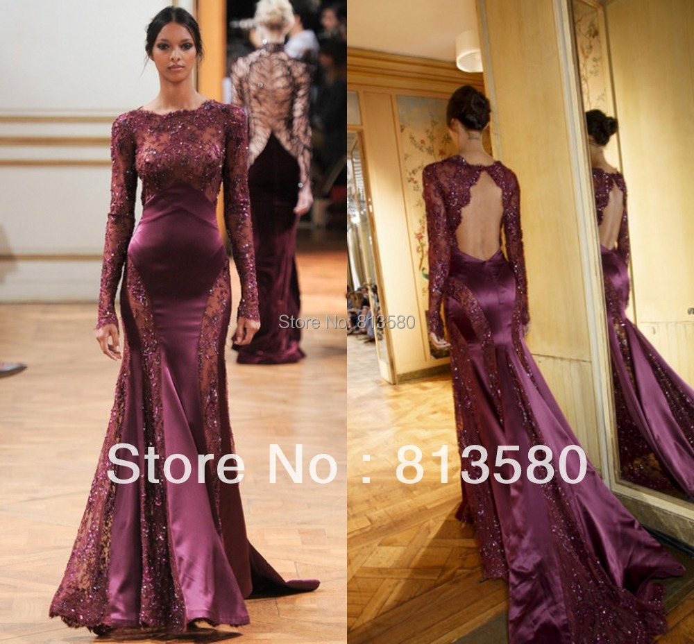 New fashion long sleeve beaded lace open back mermaid wine for Dresses to attend wedding