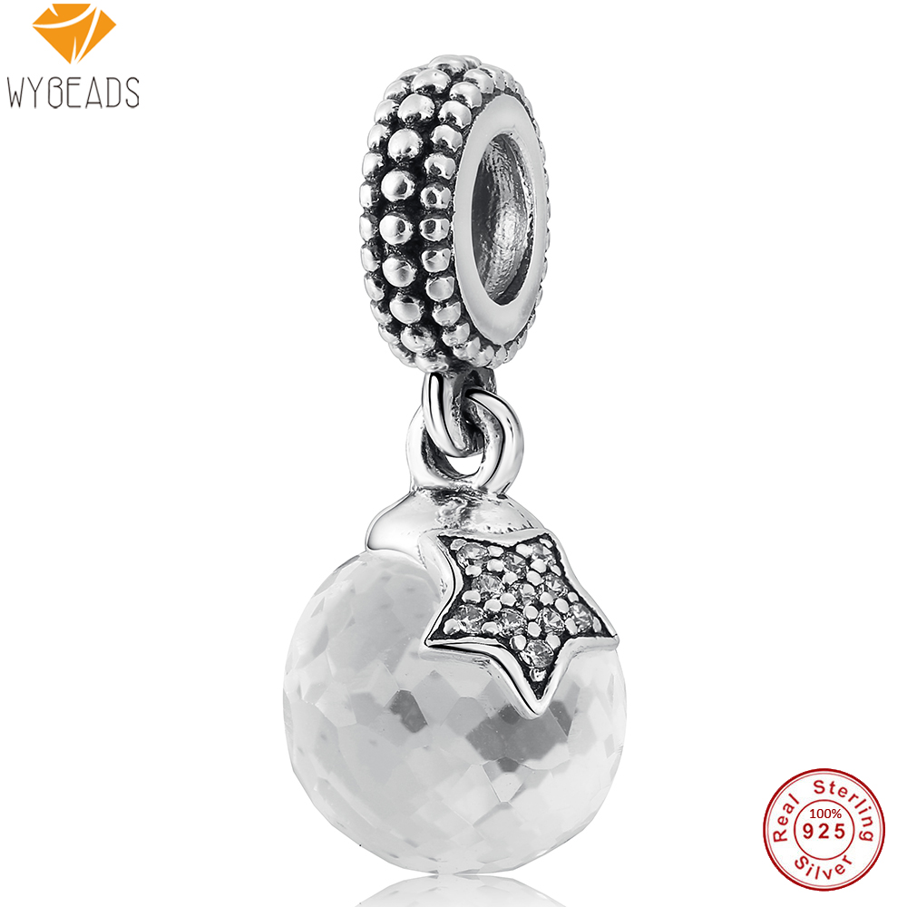 WYBEADS 925 Sterling Silver Crystal Satr CZ European Charms Pendant Fit Snake Chain Bracelet Bangle Original Jewelry Making