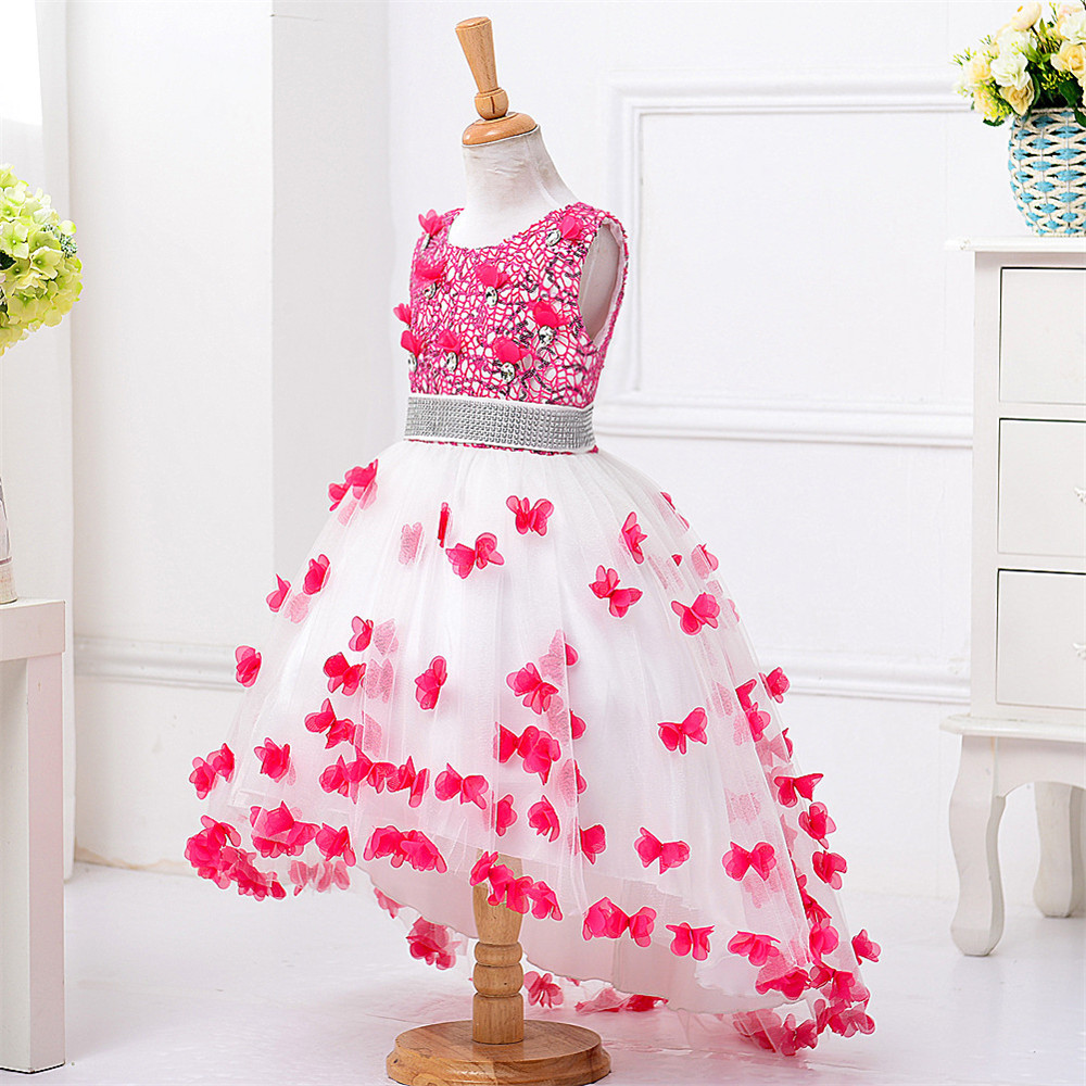 New Girls Dress Children Ceremony Formal Dress Princess Rose Flower Girl Dress Belt Sequined Trailing Robe Kids Clothes Vestidos girls champagne short front long back flower girl dress for wedding trailing formal party vestidos girls clothes 2017 skf154024
