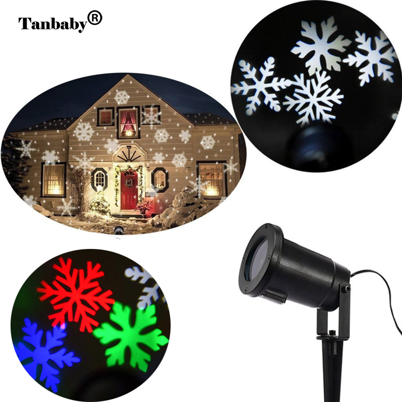 Tanbaby Christmas Lights Snowflake Projector Outdoor LED Waterproof Disco Lamp Home Garden Party Star Light Indoor Decoration