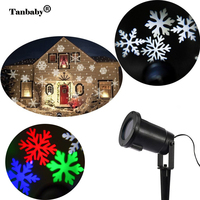 Tanbaby Christmas Lights Snowflake Projector Outdoor LED Waterproof Disco Lamp Home Garden Party Star Light Indoor