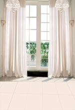 Laeacco French Window Curtain Sunshine Marble Floor Interior Photographic Background Wall Photography Backdrops For Photo Studio