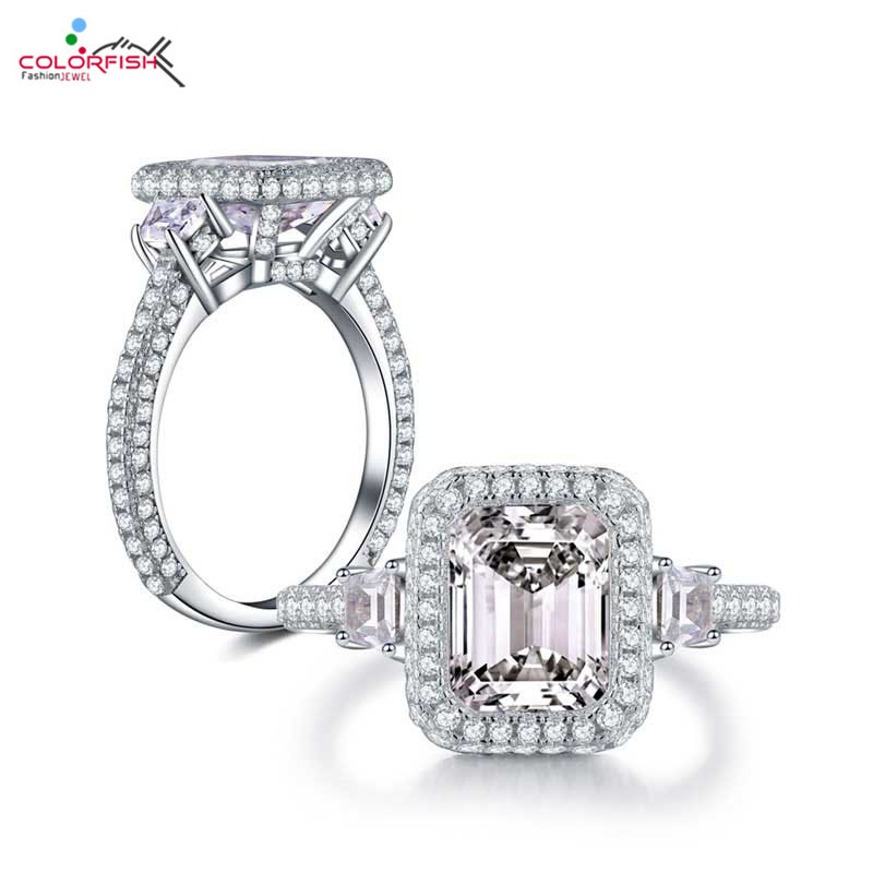COLORFISH Solid Sterling Silver 3 stones Engagement Ring Square Cut 2 ct Luxury Jewelry For Women
