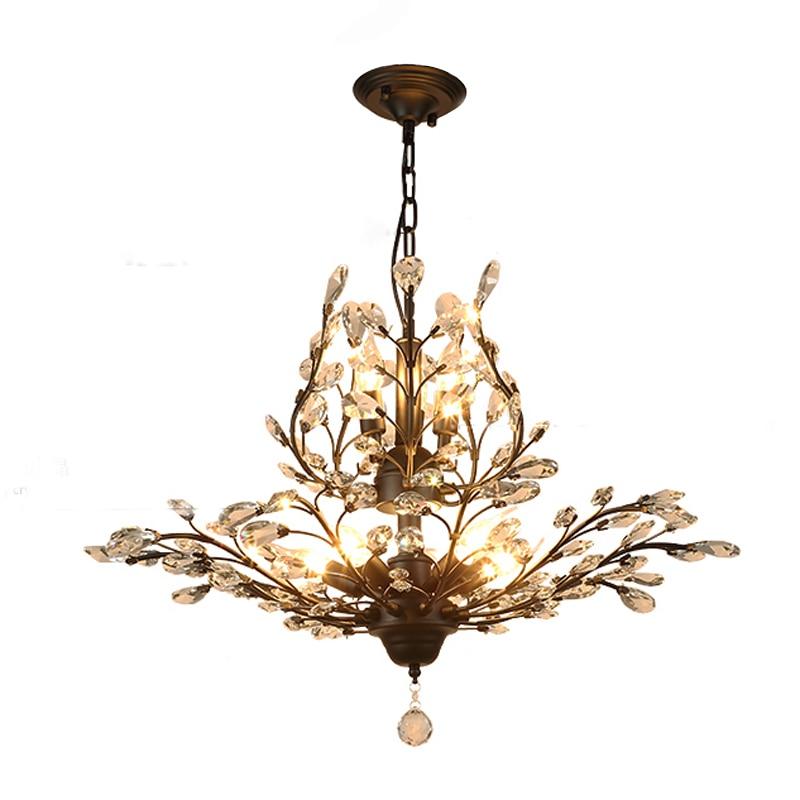 Ecolight Crystal Vintage Chandeliers Loft Light Retro Light for Dinning Room Bedroom Lights(Black or Gold color)