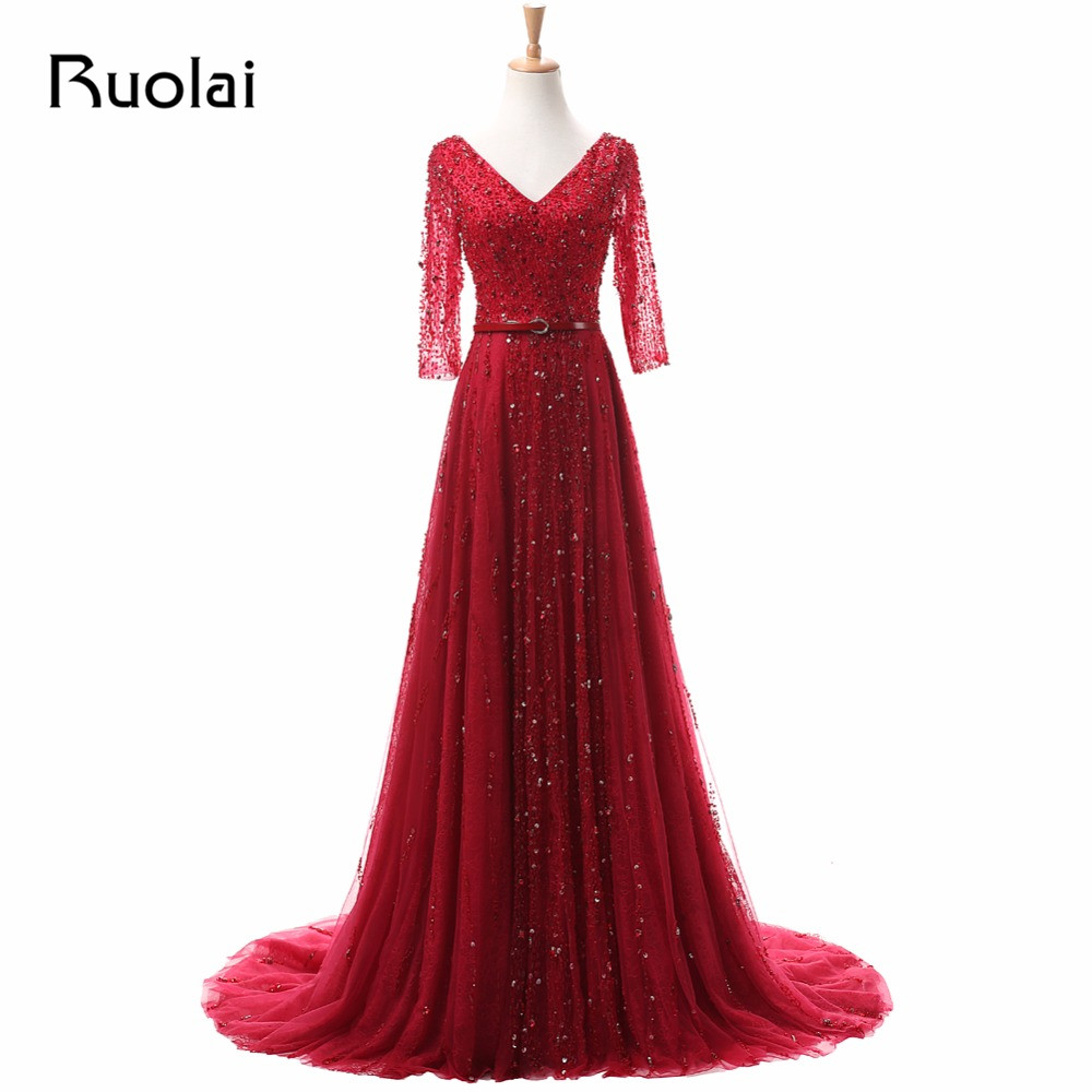 Luxury Real Photo Three Quarter Sleeves V-Neck A-Line Red Beaded Handmade Sach   Evening     Dress   Long Prom   Dress   Formal Gown ASAFE6