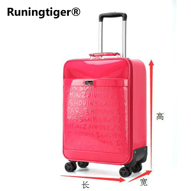 Luxury Women 's Travel Luggage fashion leather suitcase Waterproof PU leather Box with Wheel 162024 inch Rolling Trolley case vintage suitcase 20 26 pu leather travel suitcase scratch resistant rolling luggage bags suitcase with tsa lock