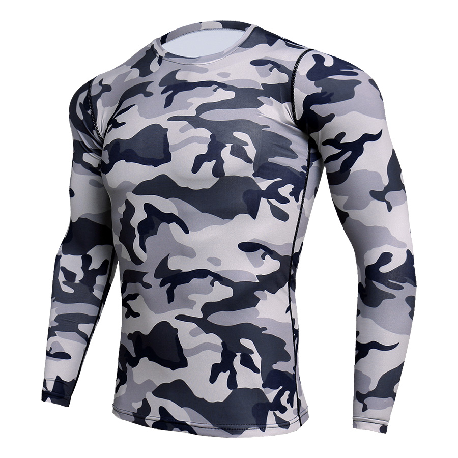 Compression Sport Shirt Men Long Sleeve Camouflage Fitness 3D Quick Dry Men's Running T-shirt Gym Workout Clothing Top Rashgard 2