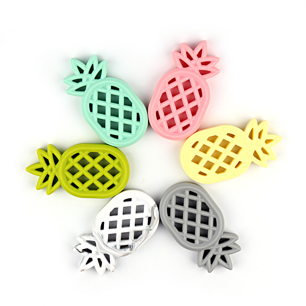 Infants Baby Teether Soft Silicone Pacifier Pendant Chewable Pineapple Toy   US