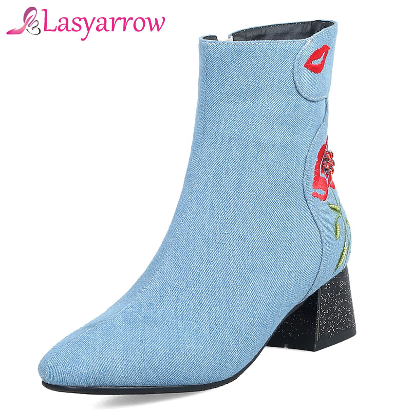 Lasyarrow Embroider Floral Denim Boots Ladies Party Shoes Chunky Block Med Heel String Beading Ankle Boots Large Size 32-48 F215Lasyarrow Embroider Floral Denim Boots Ladies Party Shoes Chunky Block Med Heel String Beading Ankle Boots Large Size 32-48 F215
