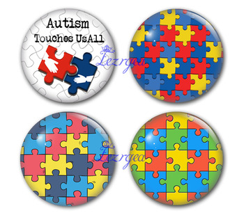 Autism touches us Round Glass Cabochon ,Puzzle Art Pendant Making Photo Cameo Cabochon Setting Supplies for Jewelry Accessories