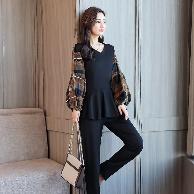 Xl-5xl Black Plaid 2 Piece Set Women Plus Size Lantern Sleeve Tops And Pants Sets Suits Spring Autumn Casual Office Women's Sets 39