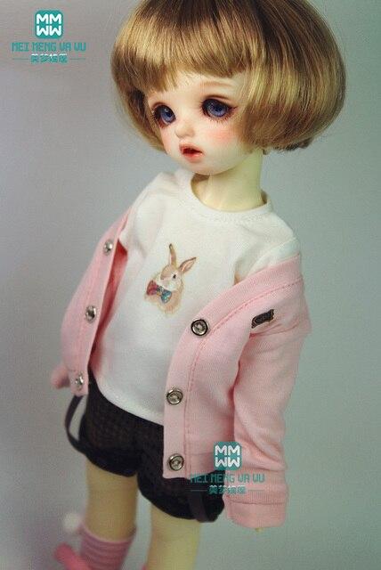 BJD búp bê quần áo phù hợp với 27 cm-30 cm 1/6 BJD búp bê thời trang màu hồng phù hợp với sinh viên sinh viên knit cardigan xếp li váy