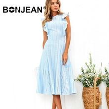Blue White Lace Dress Vestido Midi Summer Woman Elegant Evening Party Ladies Ruffle Formal Robe Femme Longue Sukienka Z005