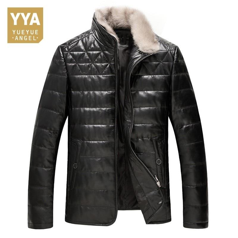 Hommes d'hiver Chaud En Cuir Véritable Doudoune Fourrure De Vison Col Debout Moto Coupe-Vent Outwear Manteaux Affaires Décontracté Manteau