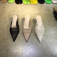 Slippers Women Summer Thin Heels Cover Toe Slides Low Shoes Pointed Sliders Bling Fabric PU Sexy Rubber Cotton Low Slides