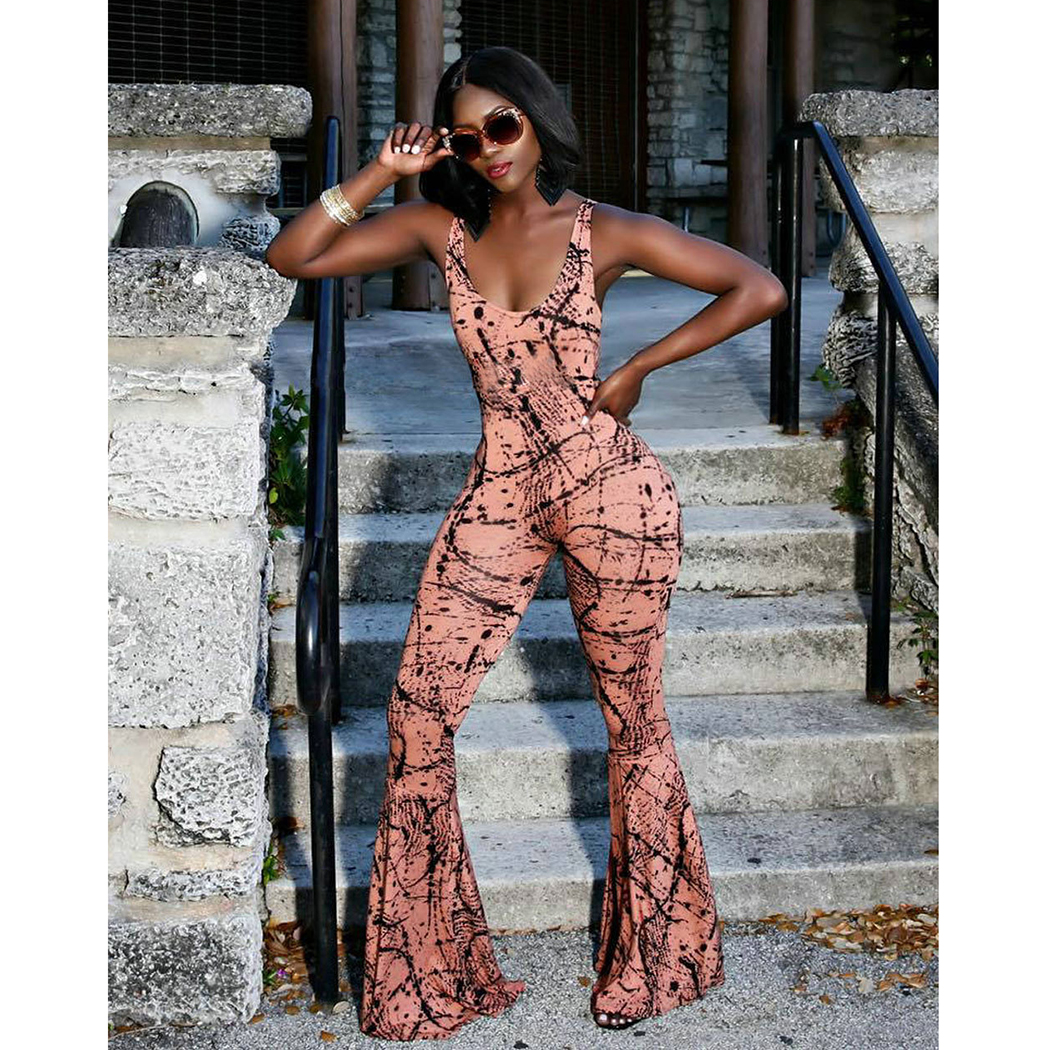 2018 Summer Women Printed Jumpsuit Sexy Backless Stretch Wide Leg Pants Playsuits Fashion Sleeveless Ladies Slim Overalls Romper