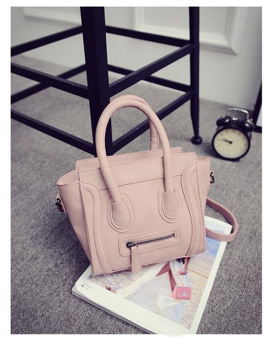 PINK Trapeze Céline Inspired Women Handbag Cross Body Bag PU Leather