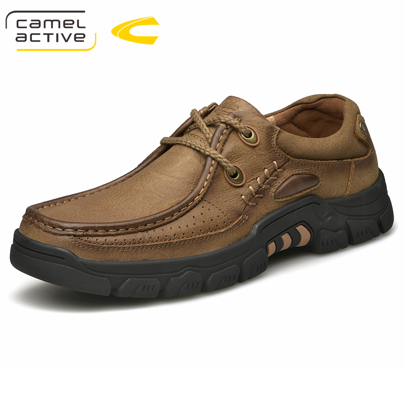 Camel Active New Mens Shoes Genuine Leather Sneakers Lace-Up Mens Outdoor Walking Sneakers Spring/Autumn Men Casual Shoes camel active new men genuine leather casual shoes business men shoes luxury brand spring male footwear sneakers big size shoes
