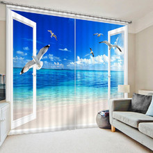 Beautiful Beach Bule Sea Luxury 3D  Blackout Window Curtains For Living room Bedding room Drapes Cotinas para sala