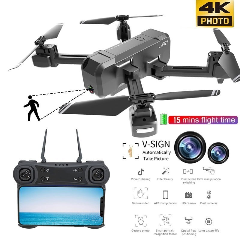Image 5 - KF607 WIFI FPV RC Foldable Drone 4K Camera Ultra HD Dual Camera Drone Headless Mode One touch Landing Quadcopter Kids Gifts-in RC Helicopters from Toys & Hobbies
