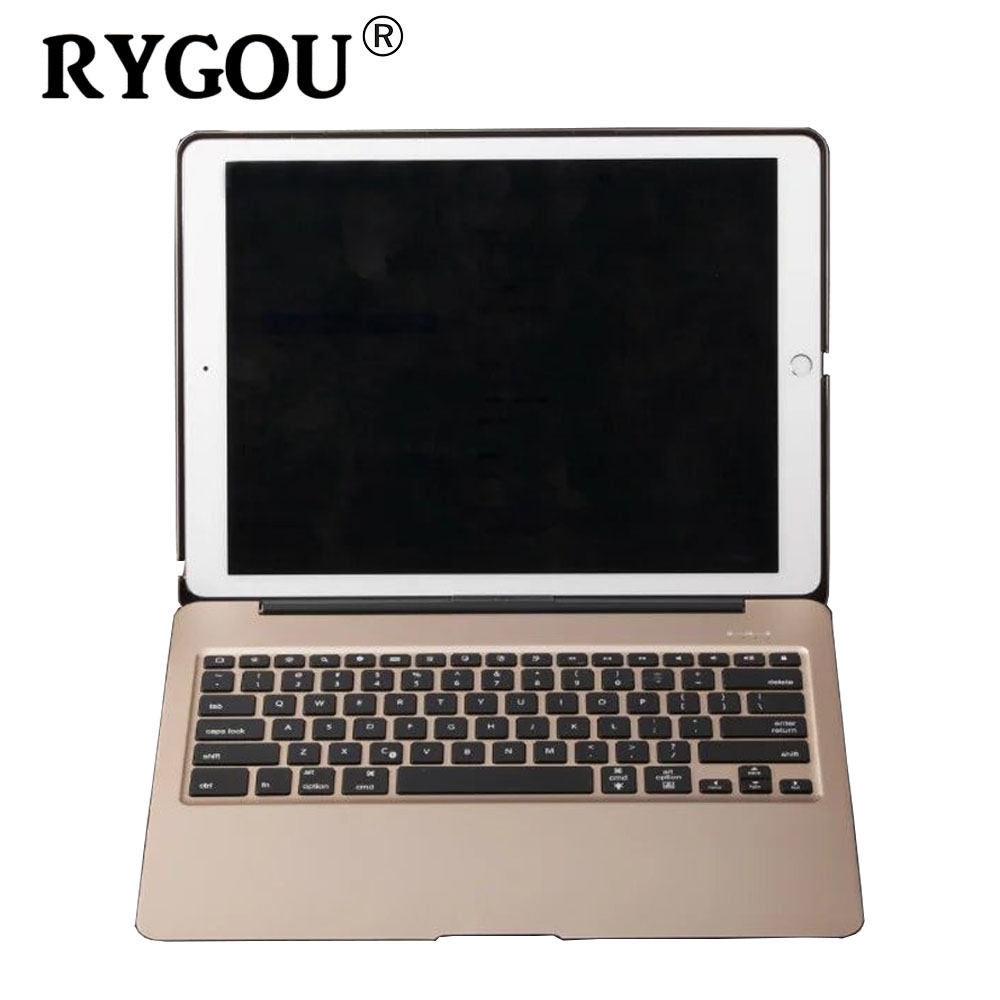 RYGOU For iPad Pro 12.9 Aluminum Keyboard Case 7 Colors Backlight Backlit Wireless Bluetooth Keyboard & Power Bank for ipad pro for ipad mini4 aluminum keyboard case with 7 colors backlight backlit wireless bluetooth keyboard