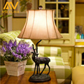 Hot Sale American Country Elk Carved Arts Table Lamp Modern Resin Table Bedside Living Room Lamp Artificial Leather