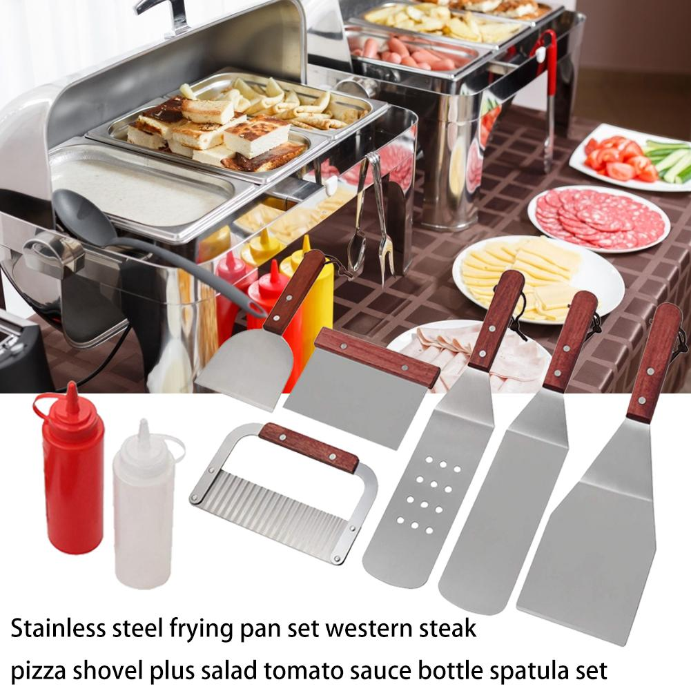 Stainless Steel Frying Shovel Set Western Steak Pizza Shovel Plus Salad Ketchup Bottle Spatula Set For Kitchen Barbecue Tool Set in Kitchen Gadget Sets from Home Garden